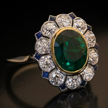 Art Deco vintage emerald diamond sapphire engagement ring