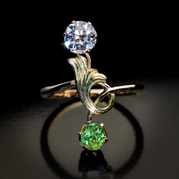 Antique Art Nouveau Russian demantoid and diamond ring