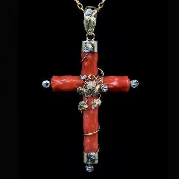 Antique coral cross necklace
