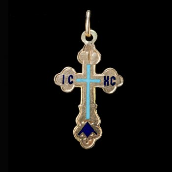 gold and enamel antique Russian cross pendant