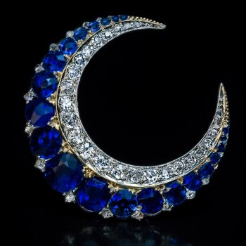 antique sapphire and diamond Victorian crescent brooch pin