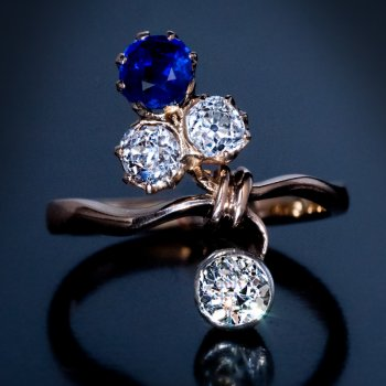antique sapphire and diamond Art Nouveau ring