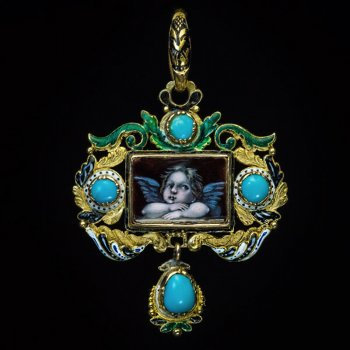 Renaissance revival antique pendant with enamel miniature