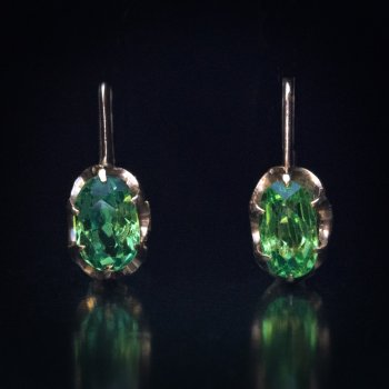 Demantoid jewelry - antique Russian demantoid earrings