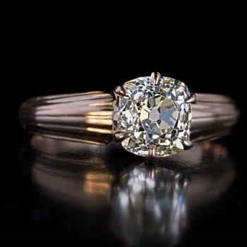 1.38 ct old mine cut diamond antique engagement ring