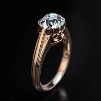 Antique rose cut diamond engagement ring