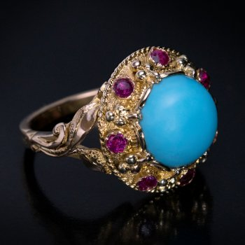 Vintage turquoise, ruby and gold ring