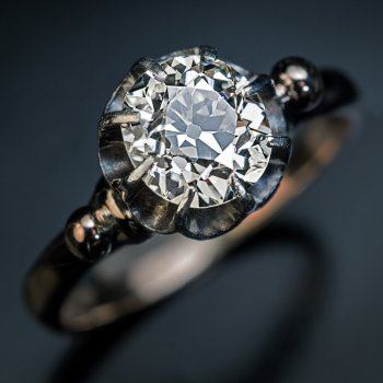 Antique 1.52 Ct old mine cut diamond engagement ring