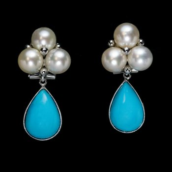 Vintage turquoise and pearl earrings