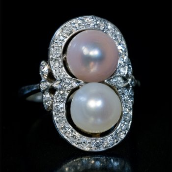 Vintage pearl and diamond engagement ring