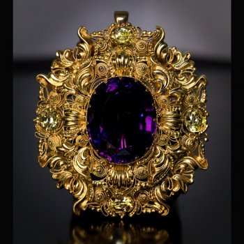 Antique amethyst brooch pendant