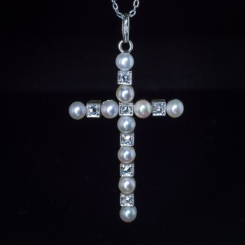 Antique pearl and diamond cross necklace