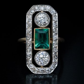 Art Deco antique emerald and diamond engagement ring
