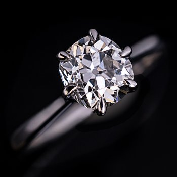 1.33 ct old mine cut diamond ring