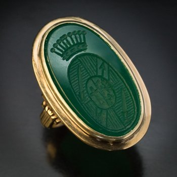Signet chrysoprase gold ring