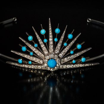 antique Victorian turquoise and diamond tiara