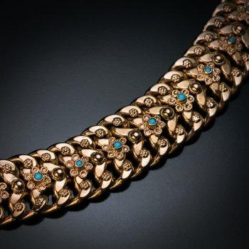 Vintage gold and turquoise floral motif bracelet