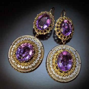Antique Victorian gold amethyst and enamel earrings