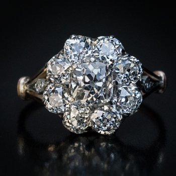 Antique diamond engagement cluster ring