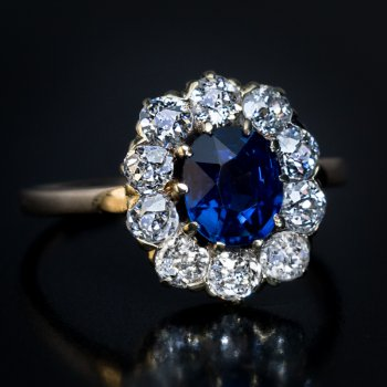 Antique Victorian sapphire and diamond cluster engagement ring