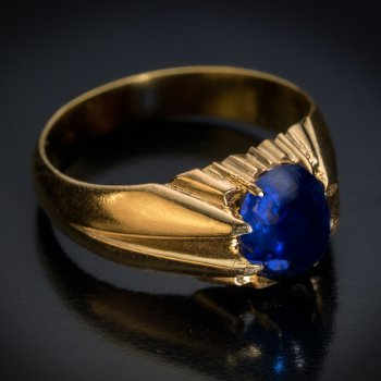 Antique cabochon cut sapphire ring