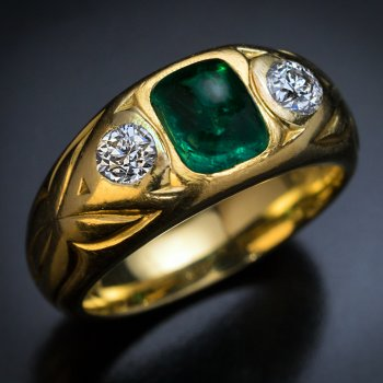 antique emerald diamond three stone 18K gold ring