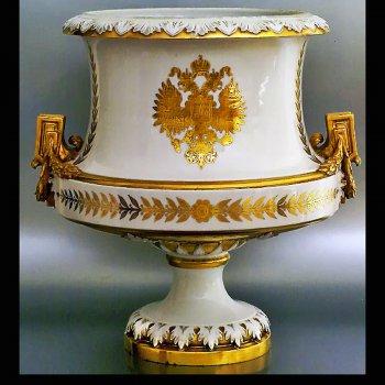 Russian Imperial eagle porcelain vase