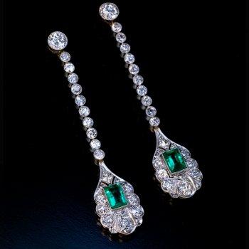 Art Deco antique ear pendants