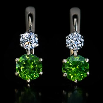 Demantoid earrings - two Russian demantoids 1.25 Ct and 1.35 Ct