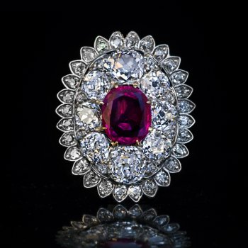 Antique Burma ruby and old mine cut diamond pendant