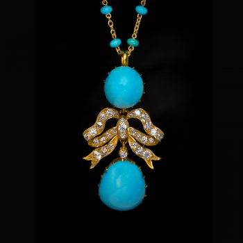 Antique turquoise, diamond, gold necklace