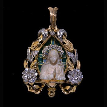 Art Nouveau antique gold, platinum, diamond, enamel and bone Madonna pendant