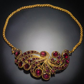 Napoleonic era antique garnet necklace / diadem tiara