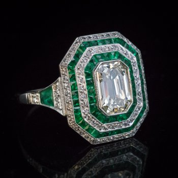 Original Art Deco diamond and emerald engagement ring