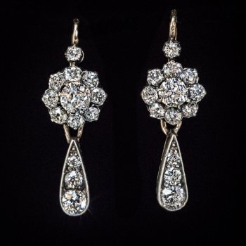 Antique Day to Night old mine cut diamond earrings