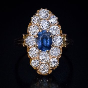 Antique sapphire and diamond ring - Victorian jewelry
