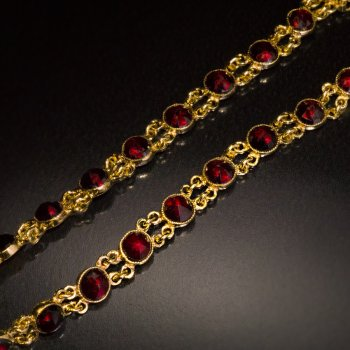 Vintage Bohemian red garnet and gold bracelet