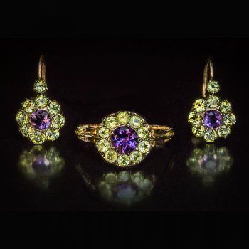 Antique Russian chrysolite and amethyst earrings and a ring