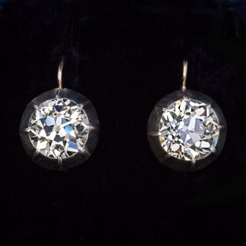 Antique 5 carat diamond solitaire earrings