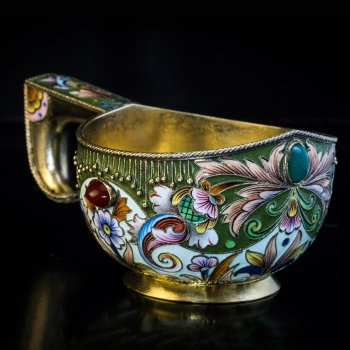 Antique Russian silver and cloisonne enamel kovsh by Feodor Ruckert