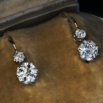 Antique two stone diamond earrings