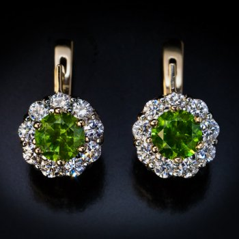 Russian demantoid and diamond cluster earrings