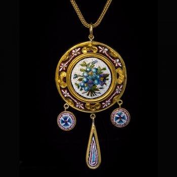 Antique 19th century micro mosaic necklace