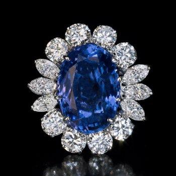 Unheated natural 10.66 ct Ceylon sapphire and diamond ring