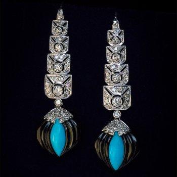 Art Deco platinum, diamond, onyx and turquoise earrings