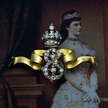 Empress Elisabeth Sissi of Austria diamond cipher gold brooch
