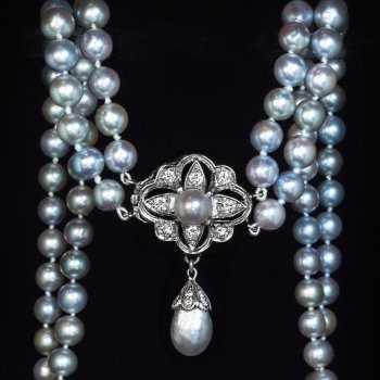 Vintage akoya pearl and diamond necklace