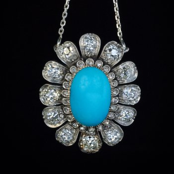 Antique Persian turquoise and diamond necklace