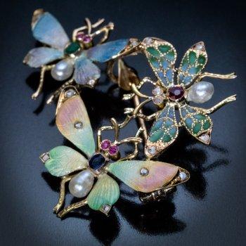 Art Nouveau jewelry - antique enamel butterfly brooch