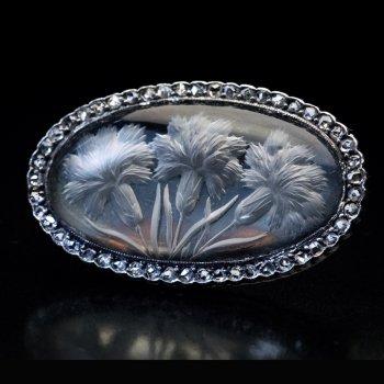 Antique Reverse Intaglio Crystal Diamond Brooch